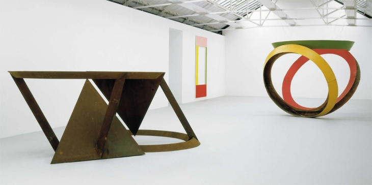 Bruce Nauman (left) Untitled (Trench, Shaft, Pit, Tunnel and Chamber), Robert Mangold (middle) 4 Colour Frame Painting No.3 (Pink, Yellow-Green, Red, Green), Bruce Nauman (Right) Untitled (Model for Trench, Shaft and Tunnel)