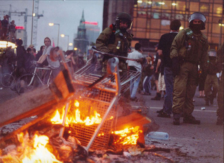 Untitled (Berlin Demonstration, Fire, Cops)
