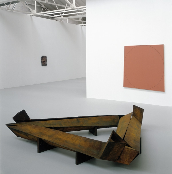 Clockwise from far left Bruce Nauman Henry Moore Bound to Fail, Robert Mangold Distorted Square /Circle (Red), Bruce Nauman Three Dead End Adjacent Tunnels, not Connected